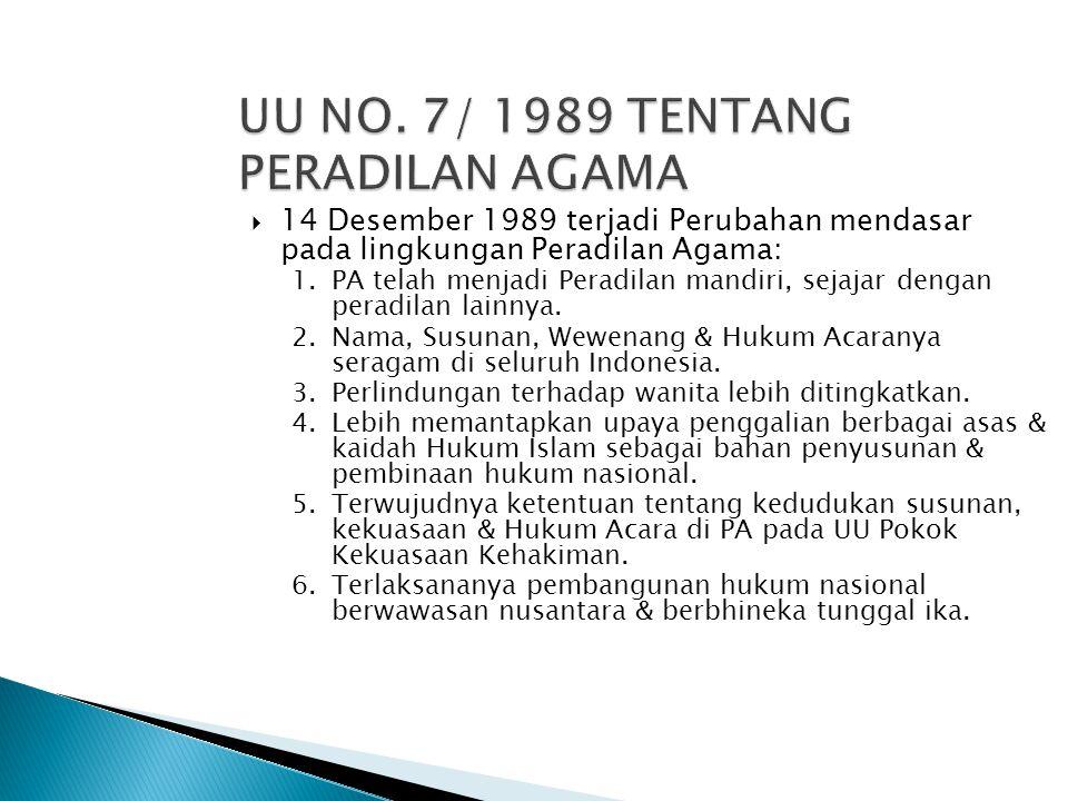  14 Desember 1989 terjadi Perubahan mendasar pada lingkungan Peradilan Agama: 1.PA telah menjadi Peradilan mandiri, sejajar dengan peradilan lainnya.