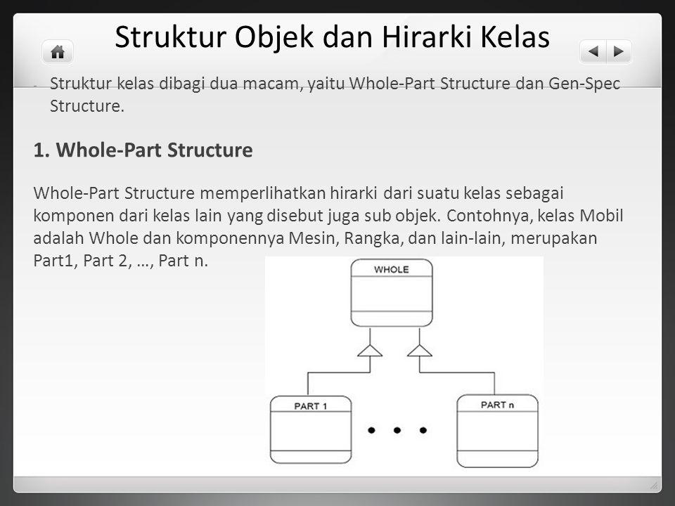 Struktur Objek dan Hirarki Kelas - Struktur kelas dibagi dua macam, yaitu Whole-Part Structure dan Gen-Spec Structure. 1. Whole-Part Structure Whole-P