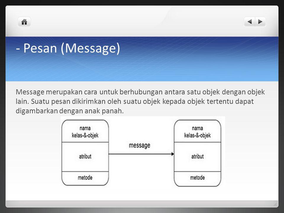 - Pesan (Message) Message merupakan cara untuk berhubungan antara satu objek dengan objek lain. Suatu pesan dikirimkan oleh suatu objek kepada objek t