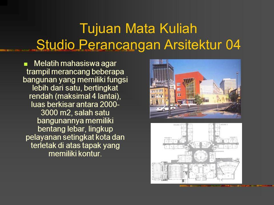 Tujuan Mata Kuliah Studio Perancangan Arsitektur 04 Melatih mahasiswa agar trampil merancang beberapa bangunan yang memiliki fungsi lebih dari satu, b