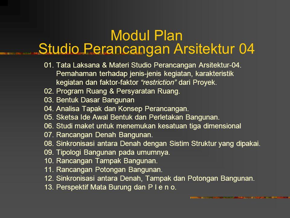 Modul Plan Studio Perancangan Arsitektur 04 01. Tata Laksana & Materi Studio Perancangan Arsitektur-04. Pemahaman terhadap jenis-jenis kegiatan, karak