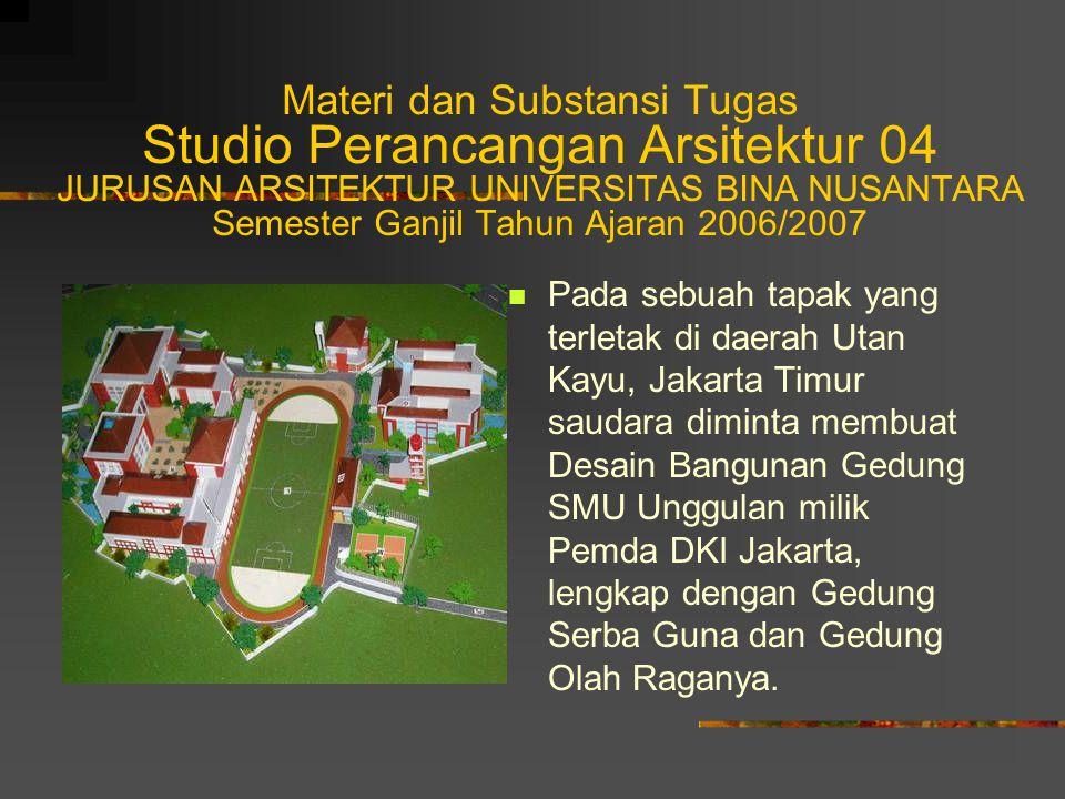 Jadwal Kegiatan dan Target Tugas Studio Perancangan Arsitektur 04 Jadwal kegiatan Studio PA 04 selama satu semester, dibuat sesuai dengan Modul Plan yang telah disusun, dengan perincian seperti Jadwal Kegiatan terlampir (lihat foto copy).