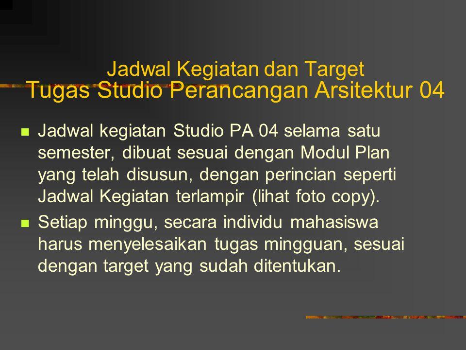Jadwal Kegiatan dan Target Tugas Studio Perancangan Arsitektur 04 Jadwal kegiatan Studio PA 04 selama satu semester, dibuat sesuai dengan Modul Plan y