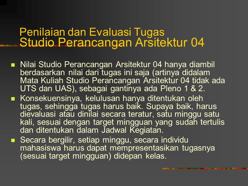 Penilaian dan Evaluasi Tugas Studio Perancangan Arsitektur 04 Nilai Studio Perancangan Arsitektur 04 hanya diambil berdasarkan nilai dari tugas ini saja (artinya didalam Mata Kuliah Studio Perancangan Arsitektur 04 tidak ada UTS dan UAS), sebagai gantinya ada Pleno 1 & 2.