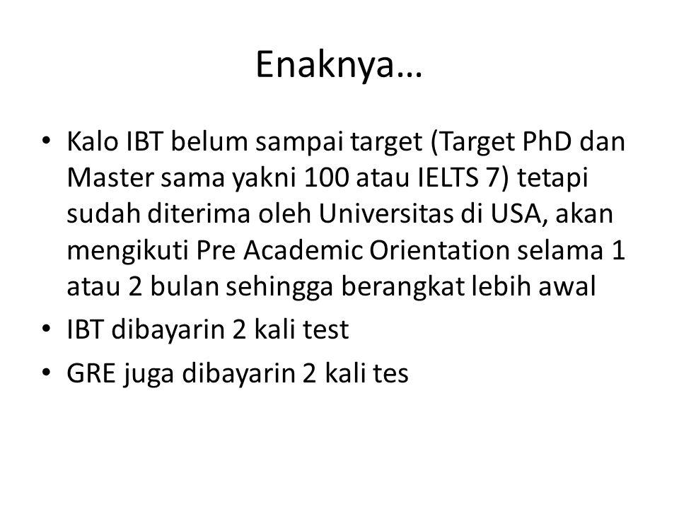 Enaknya… Kalo IBT belum sampai target (Target PhD dan Master sama yakni 100 atau IELTS 7) tetapi sudah diterima oleh Universitas di USA, akan mengikut