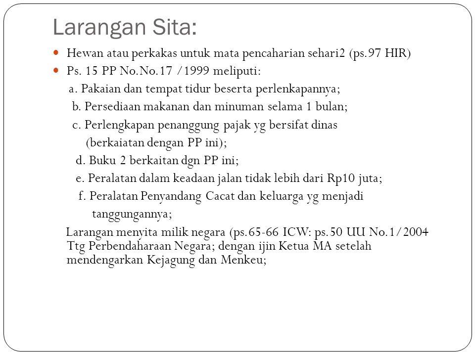Larangan Sita: Hewan atau perkakas untuk mata pencaharian sehari2 (ps.97 HIR) Ps. 15 PP No.No.17 /1999 meliputi: a. Pakaian dan tempat tidur beserta p