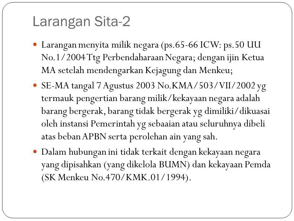 Larangan Sita-2 Larangan menyita milik negara (ps.65-66 ICW: ps.50 UU No.1/2004 Ttg Perbendaharaan Negara; dengan ijin Ketua MA setelah mendengarkan K