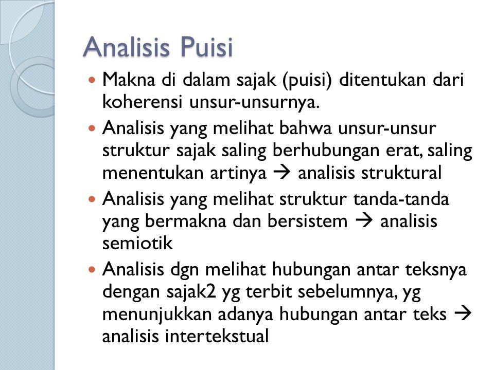 Analisis Puisi Makna di dalam sajak (puisi) ditentukan dari koherensi unsur-unsurnya. Analisis yang melihat bahwa unsur-unsur struktur sajak saling be
