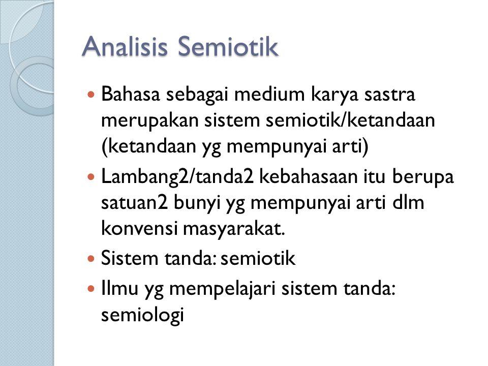 Analisis Semiotik Bahasa sebagai medium karya sastra merupakan sistem semiotik/ketandaan (ketandaan yg mempunyai arti) Lambang2/tanda2 kebahasaan itu berupa satuan2 bunyi yg mempunyai arti dlm konvensi masyarakat.