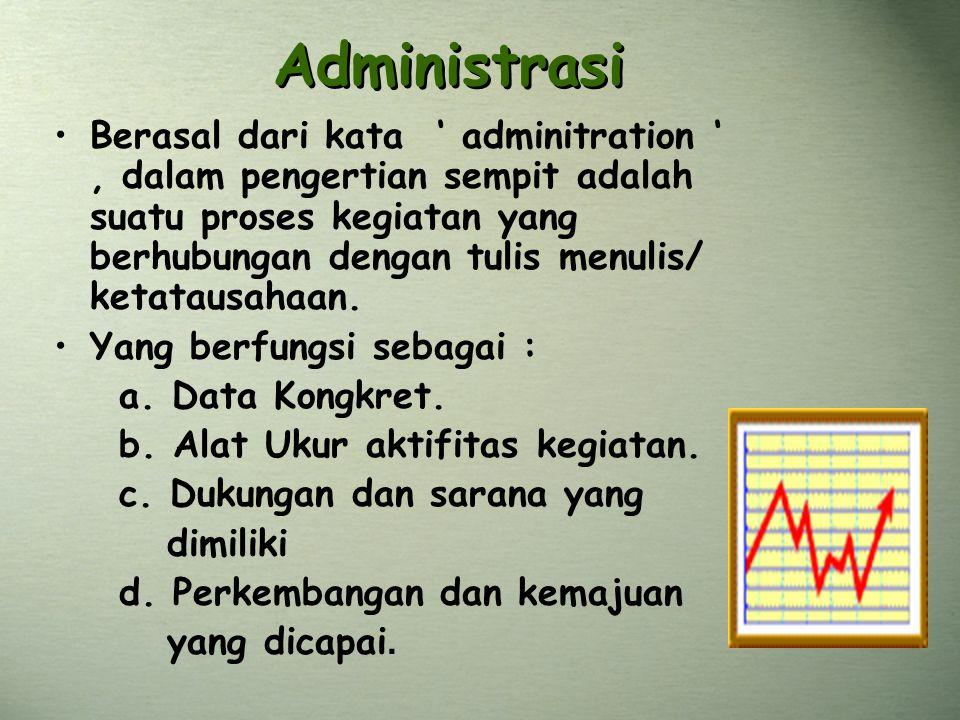 Administrasi Berasal dari kata ' adminitration ', dalam pengertian sempit adalah suatu proses kegiatan yang berhubungan dengan tulis menulis/ ketataus