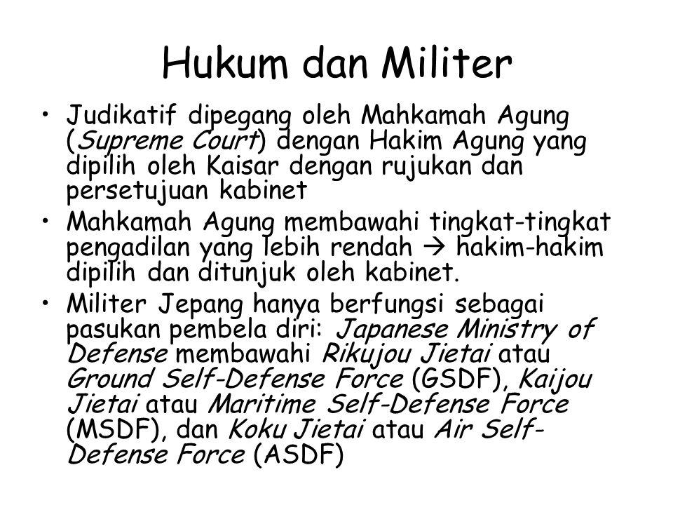 Hukum dan Militer Judikatif dipegang oleh Mahkamah Agung (Supreme Court) dengan Hakim Agung yang dipilih oleh Kaisar dengan rujukan dan persetujuan ka