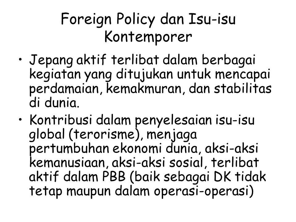 Foreign Policy dan Isu-isu Kontemporer Jepang aktif terlibat dalam berbagai kegiatan yang ditujukan untuk mencapai perdamaian, kemakmuran, dan stabili