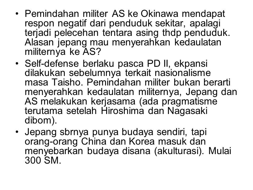 Pemindahan militer AS ke Okinawa mendapat respon negatif dari penduduk sekitar, apalagi terjadi pelecehan tentara asing thdp penduduk. Alasan jepang m
