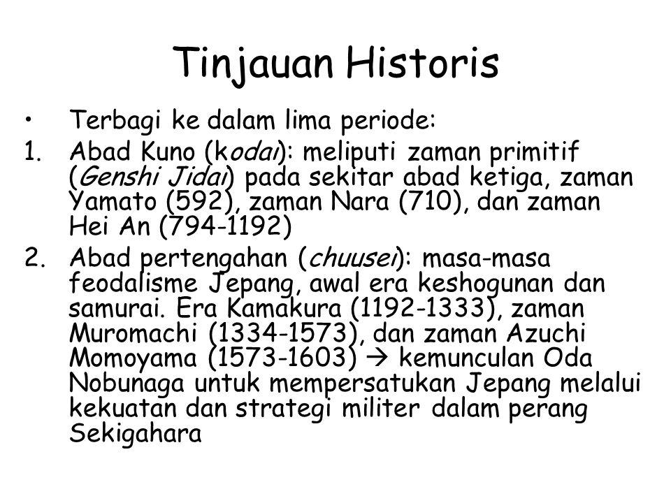 Tinjauan Historis Terbagi ke dalam lima periode: 1.Abad Kuno (kodai): meliputi zaman primitif (Genshi Jidai) pada sekitar abad ketiga, zaman Yamato (5