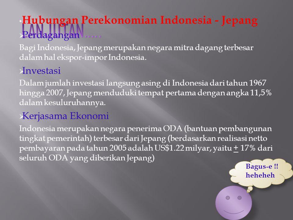 Hubungan Perekonomian Indonesia - Jepang  Perdagangan Bagi Indonesia, Jepang merupakan negara mitra dagang terbesar dalam hal ekspor-impor Indonesia.