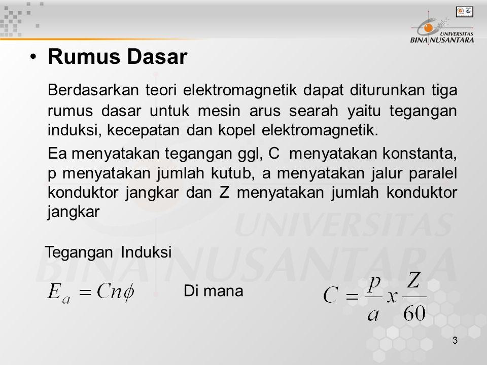 3 Rumus Dasar Berdasarkan teori elektromagnetik dapat diturunkan tiga rumus dasar untuk mesin arus searah yaitu tegangan induksi, kecepatan dan kopel
