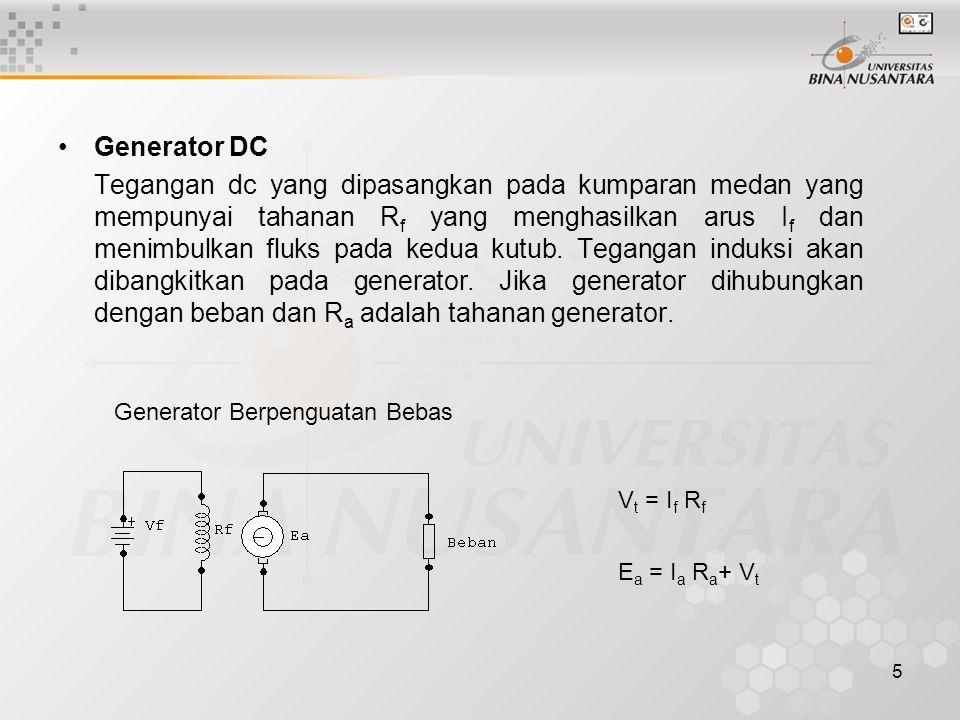 5 Generator DC Tegangan dc yang dipasangkan pada kumparan medan yang mempunyai tahanan R f yang menghasilkan arus I f dan menimbulkan fluks pada kedua