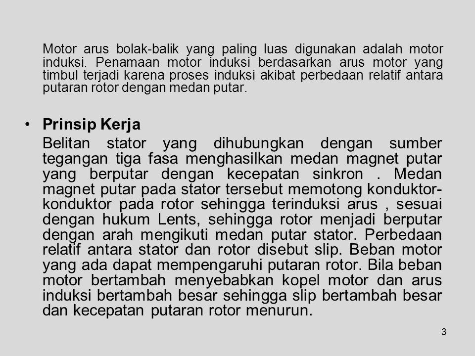 3 Motor arus bolak-balik yang paling luas digunakan adalah motor induksi.