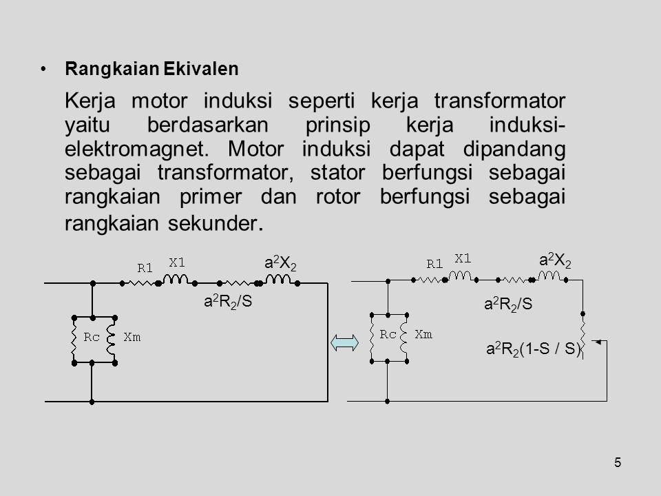 5 Rangkaian Ekivalen Kerja motor induksi seperti kerja transformator yaitu berdasarkan prinsip kerja induksi- elektromagnet.