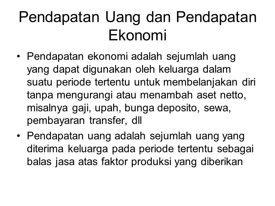 Pendapatan Uang dan Pendapatan Ekonomi Pendapatan ekonomi adalah sejumlah uang yang dapat digunakan oleh keluarga dalam suatu periode tertentu untuk m