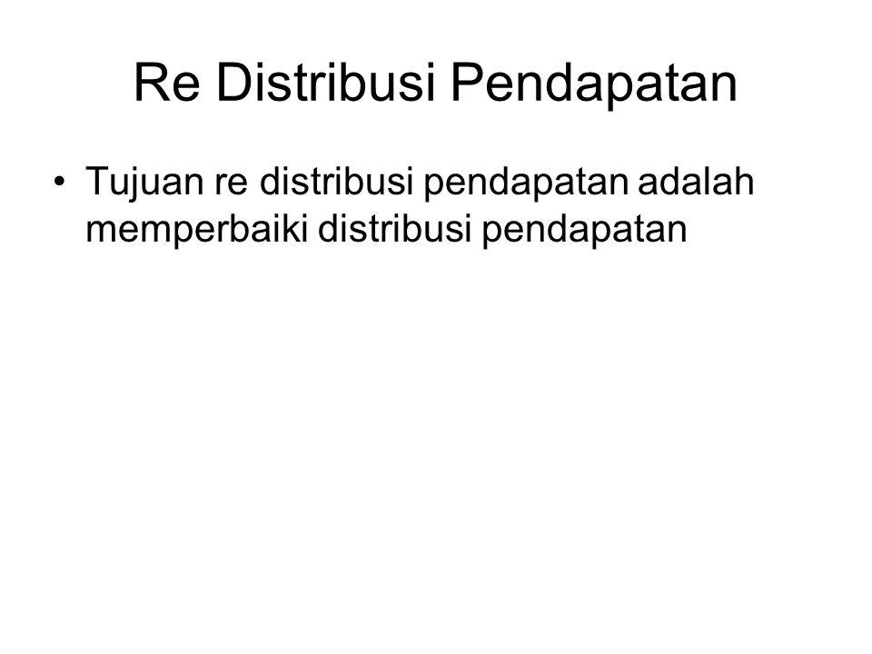 Re Distribusi Pendapatan Tujuan re distribusi pendapatan adalah memperbaiki distribusi pendapatan