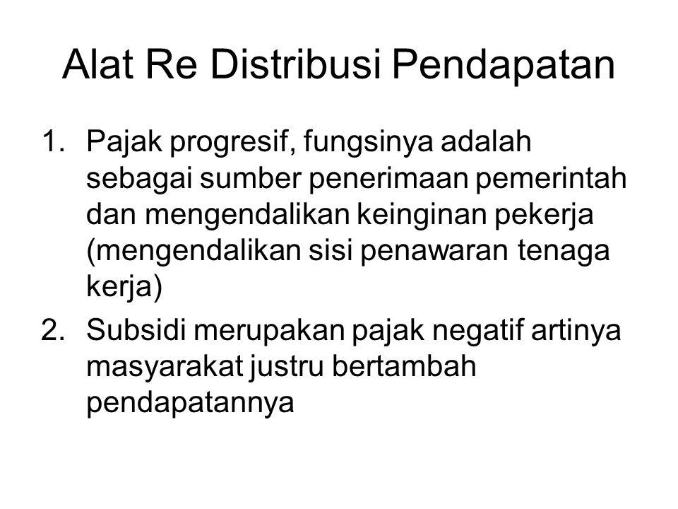Alat Re Distribusi Pendapatan 1.Pajak progresif, fungsinya adalah sebagai sumber penerimaan pemerintah dan mengendalikan keinginan pekerja (mengendali