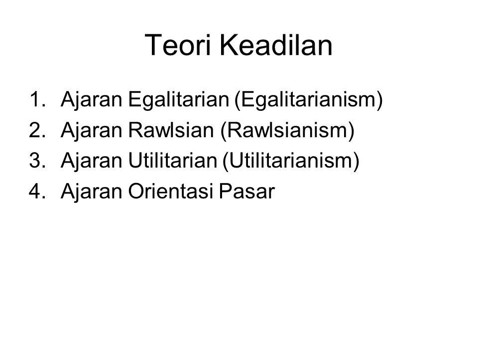 Teori Keadilan 1.Ajaran Egalitarian (Egalitarianism) 2.Ajaran Rawlsian (Rawlsianism) 3.Ajaran Utilitarian (Utilitarianism) 4.Ajaran Orientasi Pasar