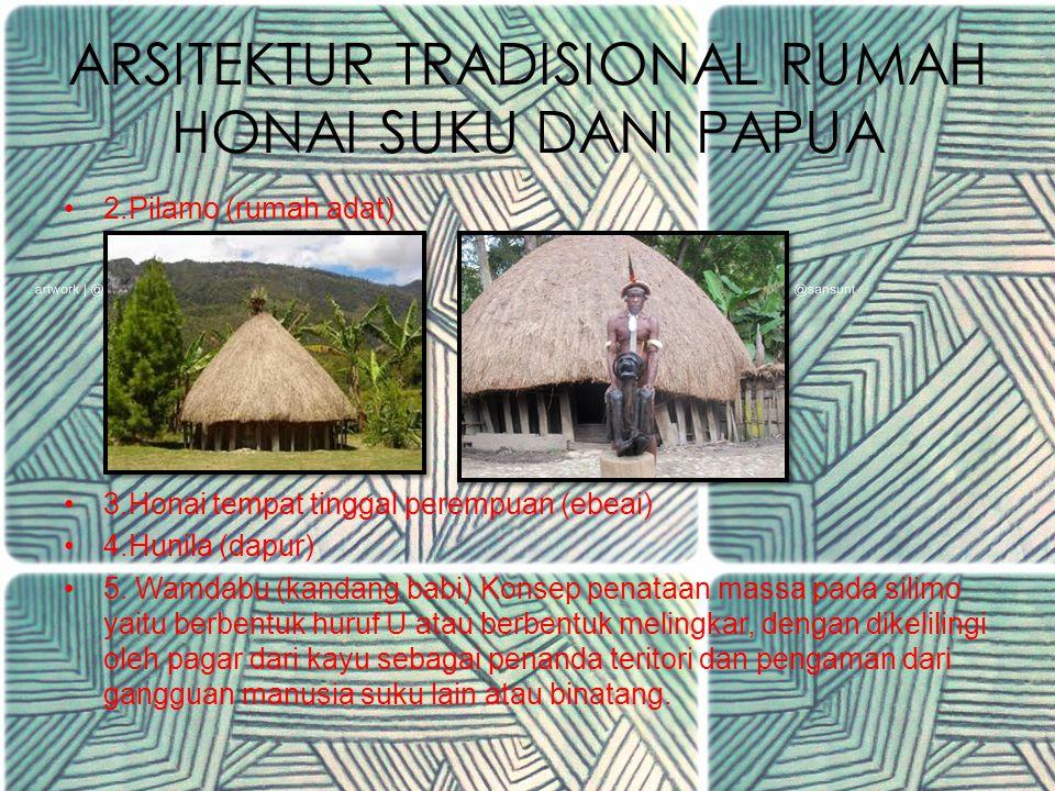 ARSITEKTUR TRADISIONAL RUMAH HONAI SUKU DANI PAPUA 2.Pilamo (rumah adat) 3.Honai tempat tinggal perempuan (ebeai) 4.Hunila (dapur) 5.