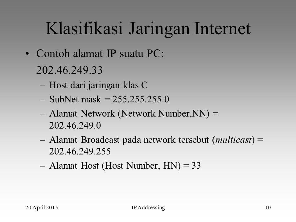 20 April 2015IP Addressing10 Klasifikasi Jaringan Internet Contoh alamat IP suatu PC: 202.46.249.33 –Host dari jaringan klas C –SubNet mask = 255.255.255.0 –Alamat Network (Network Number,NN) = 202.46.249.0 –Alamat Broadcast pada network tersebut (multicast) = 202.46.249.255 –Alamat Host (Host Number, HN) = 33