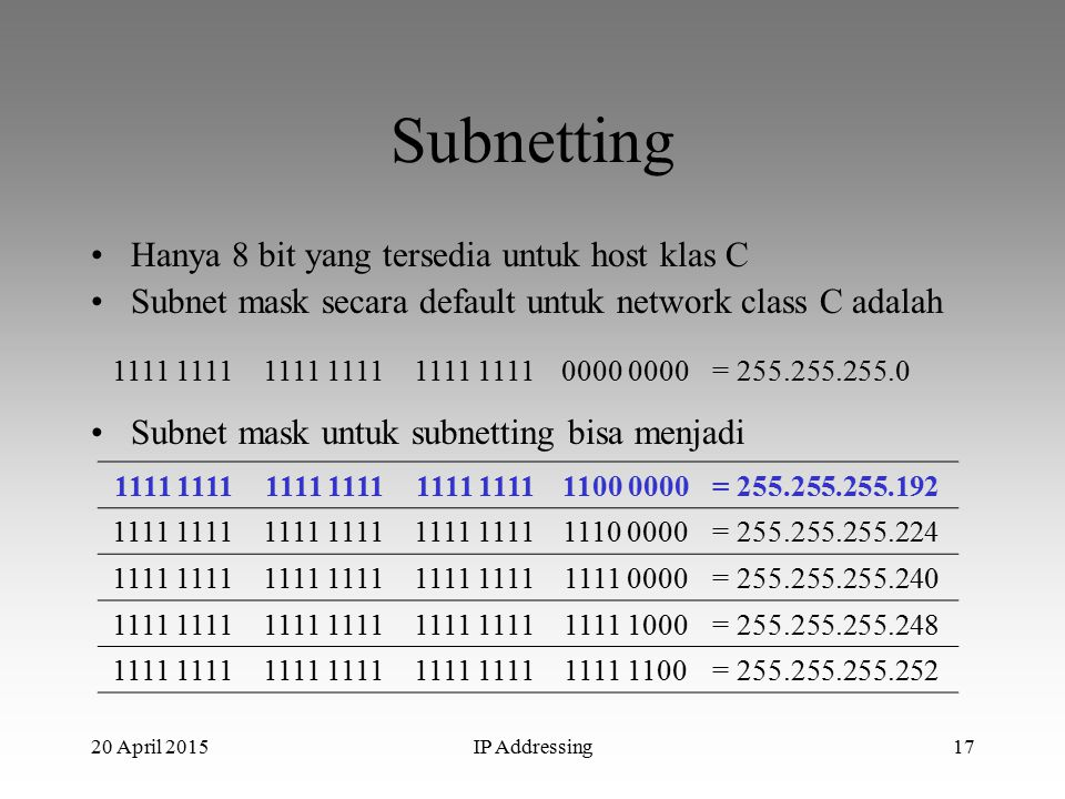 20 April 2015IP Addressing17 Subnetting Hanya 8 bit yang tersedia untuk host klas C Subnet mask secara default untuk network class C adalah 1111 0000 = 255.255.255.0 Subnet mask untuk subnetting bisa menjadi 1111 1100 0000= 255.255.255.192 1111 1110 0000= 255.255.255.224 1111 1111 0000= 255.255.255.240 1111 1111 1000= 255.255.255.248 1111 1111 1100= 255.255.255.252