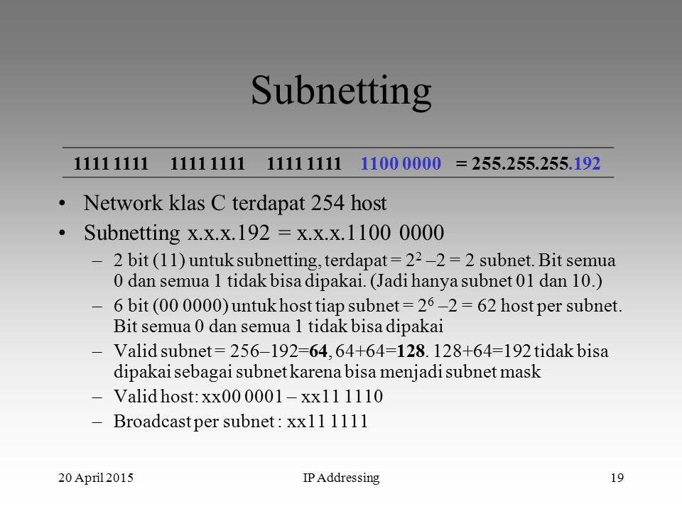 20 April 2015IP Addressing19 Subnetting Network klas C terdapat 254 host Subnetting x.x.x.192 = x.x.x.1100 0000 –2 bit (11) untuk subnetting, terdapat = 2 2 –2 = 2 subnet.
