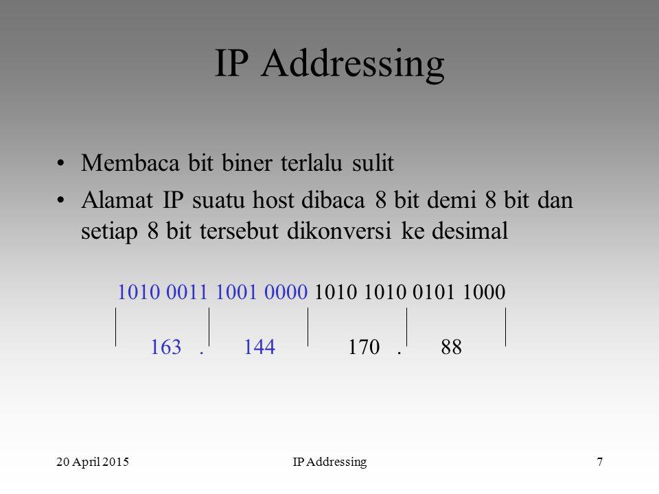 20 April 2015IP Addressing7 Membaca bit biner terlalu sulit Alamat IP suatu host dibaca 8 bit demi 8 bit dan setiap 8 bit tersebut dikonversi ke desimal 1010 0011 1001 0000 1010 1010 0101 1000 163.170.14488
