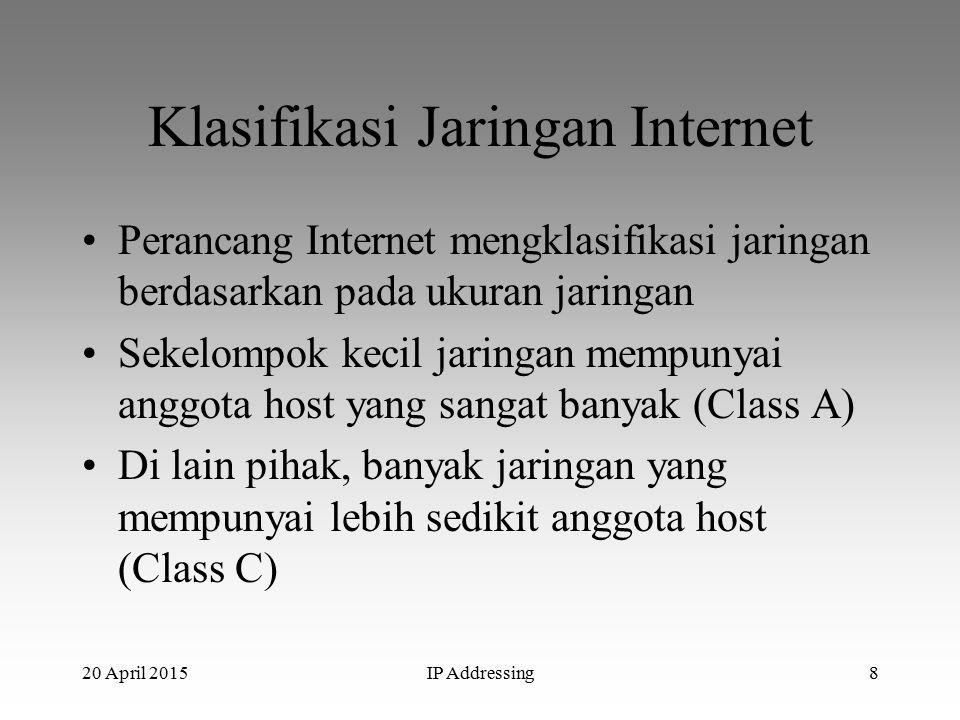 20 April 2015IP Addressing8 Klasifikasi Jaringan Internet Perancang Internet mengklasifikasi jaringan berdasarkan pada ukuran jaringan Sekelompok kecil jaringan mempunyai anggota host yang sangat banyak (Class A) Di lain pihak, banyak jaringan yang mempunyai lebih sedikit anggota host (Class C)