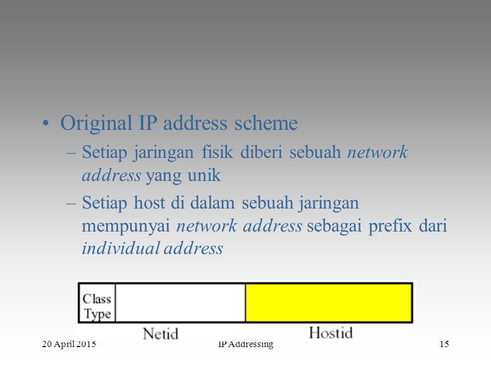20 April 2015IP Addressing15 Original IP address scheme –Setiap jaringan fisik diberi sebuah network address yang unik –Setiap host di dalam sebuah ja