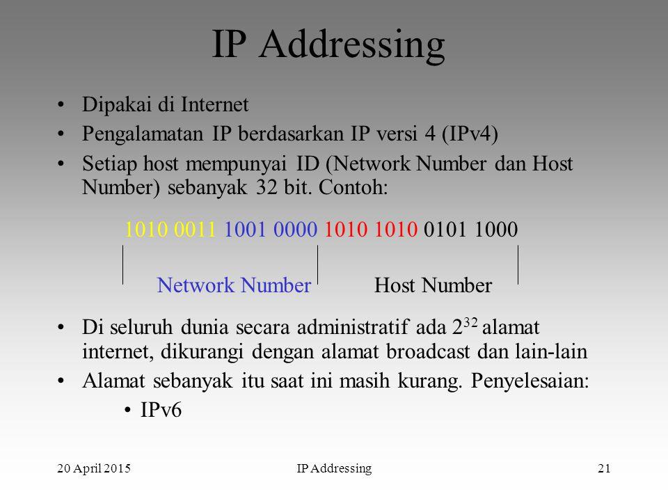 20 April 2015IP Addressing21 IP Addressing Dipakai di Internet Pengalamatan IP berdasarkan IP versi 4 (IPv4) Setiap host mempunyai ID (Network Number