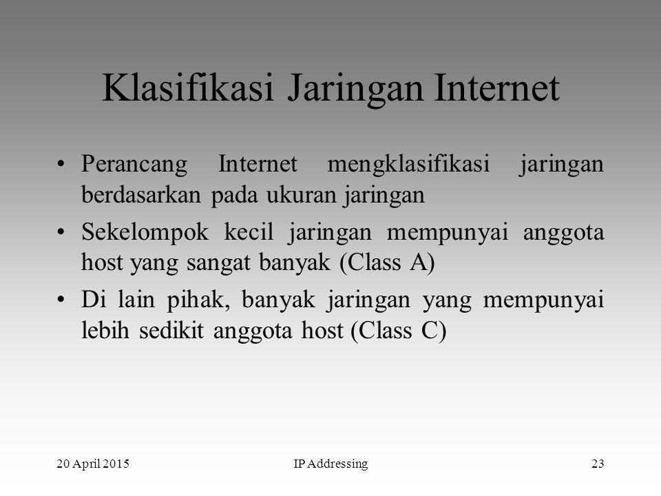 20 April 2015IP Addressing23 Klasifikasi Jaringan Internet Perancang Internet mengklasifikasi jaringan berdasarkan pada ukuran jaringan Sekelompok kec