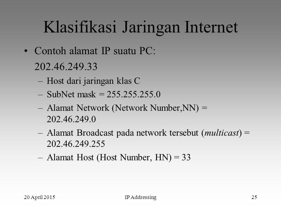 20 April 2015IP Addressing25 Klasifikasi Jaringan Internet Contoh alamat IP suatu PC: 202.46.249.33 –Host dari jaringan klas C –SubNet mask = 255.255.