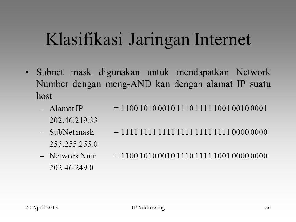 20 April 2015IP Addressing26 Klasifikasi Jaringan Internet Subnet mask digunakan untuk mendapatkan Network Number dengan meng-AND kan dengan alamat IP
