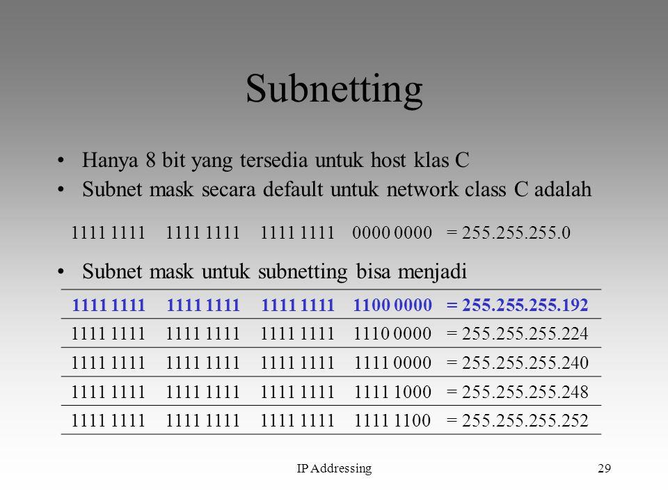 IP Addressing29 Subnetting Hanya 8 bit yang tersedia untuk host klas C Subnet mask secara default untuk network class C adalah 1111 0000 = 255.255.255