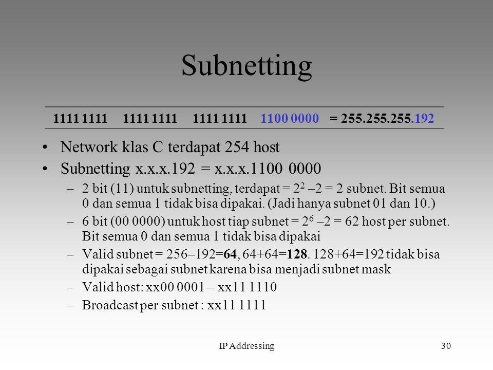 IP Addressing30 Subnetting Network klas C terdapat 254 host Subnetting x.x.x.192 = x.x.x.1100 0000 –2 bit (11) untuk subnetting, terdapat = 2 2 –2 = 2