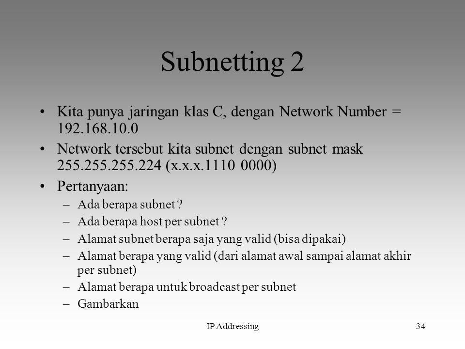 IP Addressing34 Subnetting 2 Kita punya jaringan klas C, dengan Network Number = 192.168.10.0 Network tersebut kita subnet dengan subnet mask 255.255.