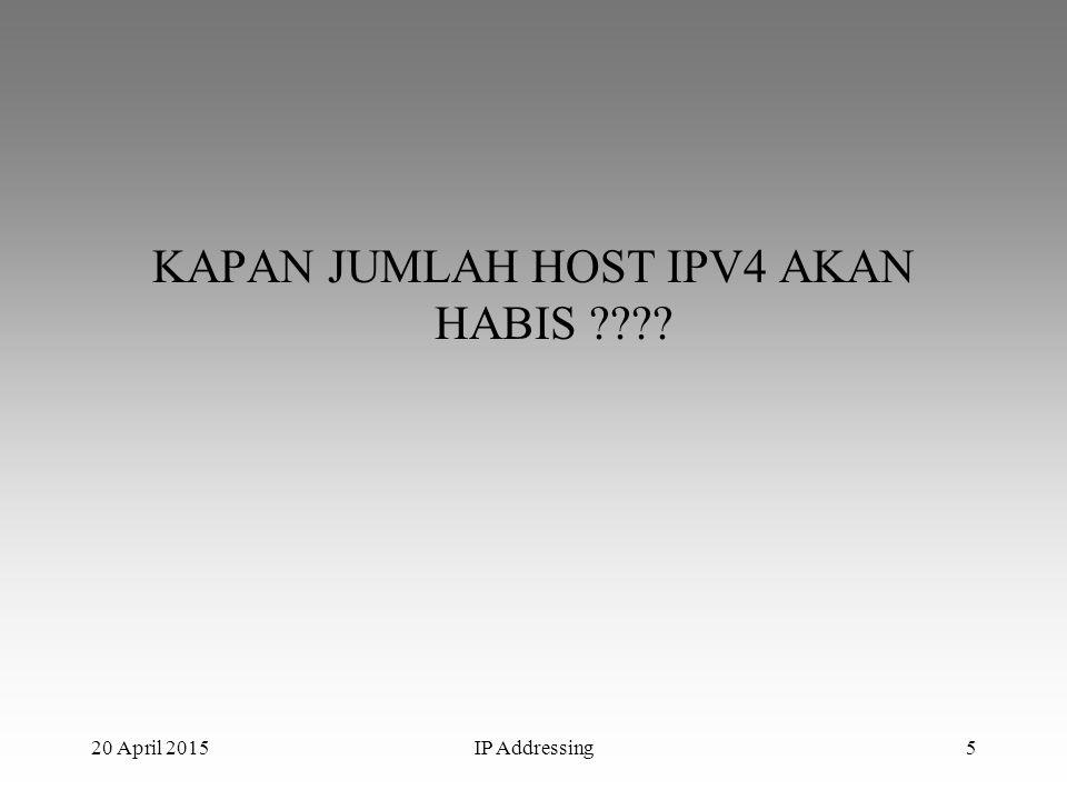 Menurut (APNIC) Regional Internet Registry That Allocates IP And AS Number in The Asia Pacific Region IPV4 akan habis diakhir/triwulan ke-3 tahun 2011 20 April 2015IP Addressing6