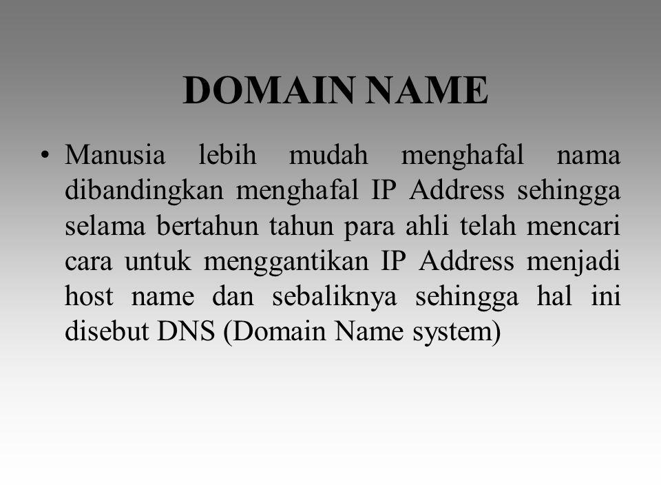 Nama DomainJenis Organisasi COM/COLembaga komersial seperti perusahaan, toko online dsb EDU/acLembaga pendidikan ORG/ORLembaga non komersial GOV/GOLembaga pemerintah MILMiliter NETLayanan Jaringan