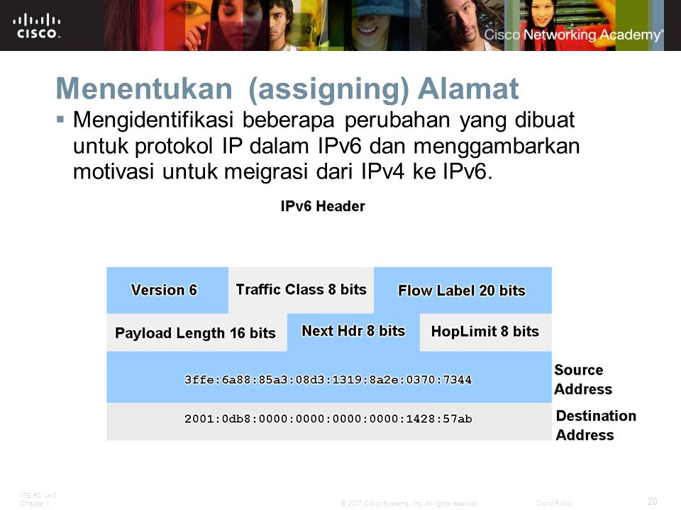 ITE PC v4.0 Chapter 1 20 © 2007 Cisco Systems, Inc. All rights reserved.Cisco Public Menentukan (assigning) Alamat  Mengidentifikasi beberapa perubah