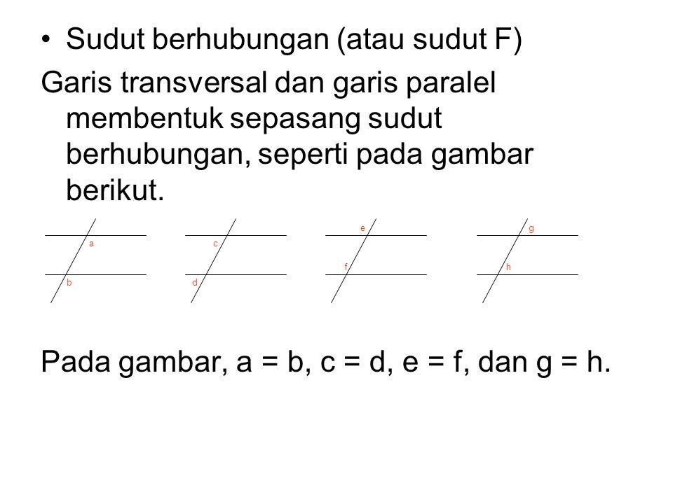 Sudut berhubungan (atau sudut F) Garis transversal dan garis paralel membentuk sepasang sudut berhubungan, seperti pada gambar berikut. Pada gambar, a