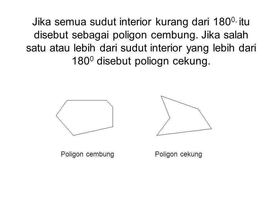 Jika semua sudut interior kurang dari 180 0, itu disebut sebagai poligon cembung. Jika salah satu atau lebih dari sudut interior yang lebih dari 180 0