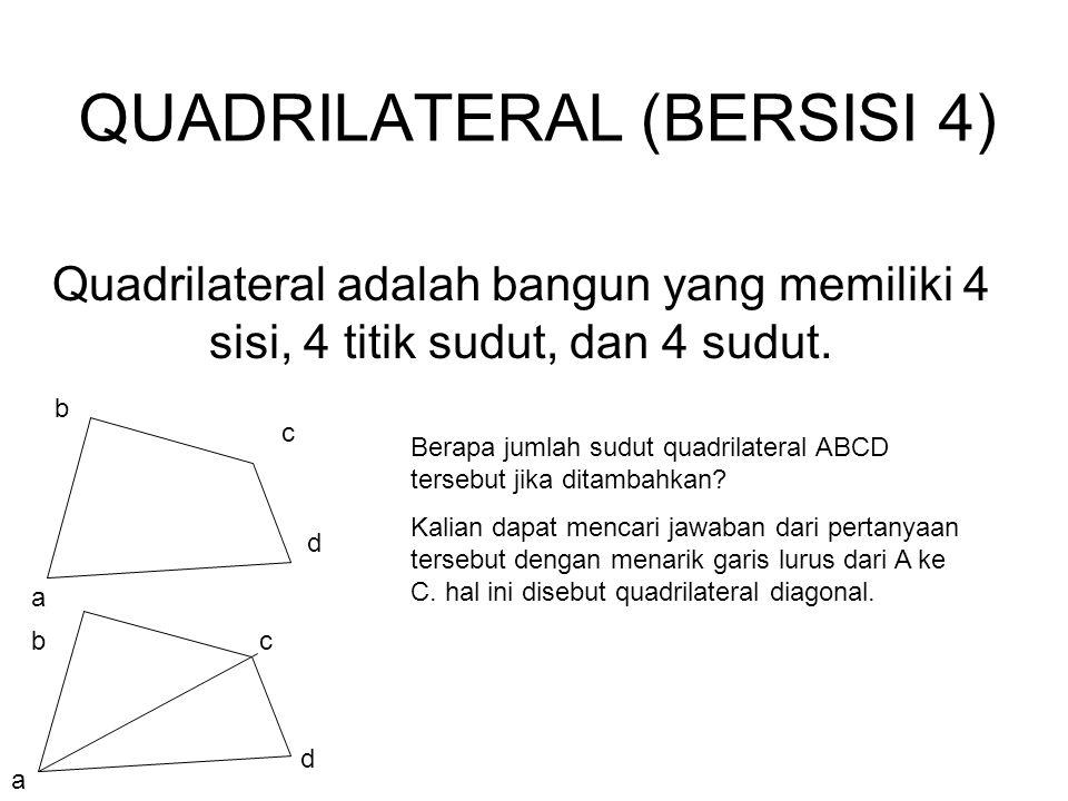 QUADRILATERAL (BERSISI 4) Quadrilateral adalah bangun yang memiliki 4 sisi, 4 titik sudut, dan 4 sudut. a b c d a bc d Berapa jumlah sudut quadrilater