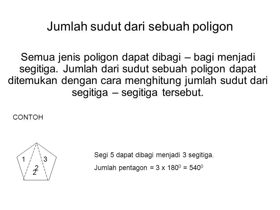 Jumlah sudut dari sebuah poligon Semua jenis poligon dapat dibagi – bagi menjadi segitiga. Jumlah dari sudut sebuah poligon dapat ditemukan dengan car