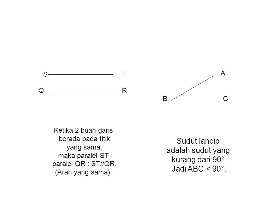 B A C Sudut lancip adalah sudut yang kurang dari 90°. Jadi ABC < 90°. ST QR Ketika 2 buah garis berada pada titik yang sama, maka paralel ST paralel Q