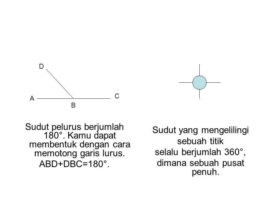 Sudut pelurus berjumlah 180°. Kamu dapat membentuk dengan cara memotong garis lurus. ABD+DBC=180°. Sudut yang mengelilingi sebuah titik selalu berjuml